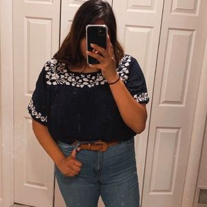 SOLITAIRE embroidered boho plus blouse sz 3x